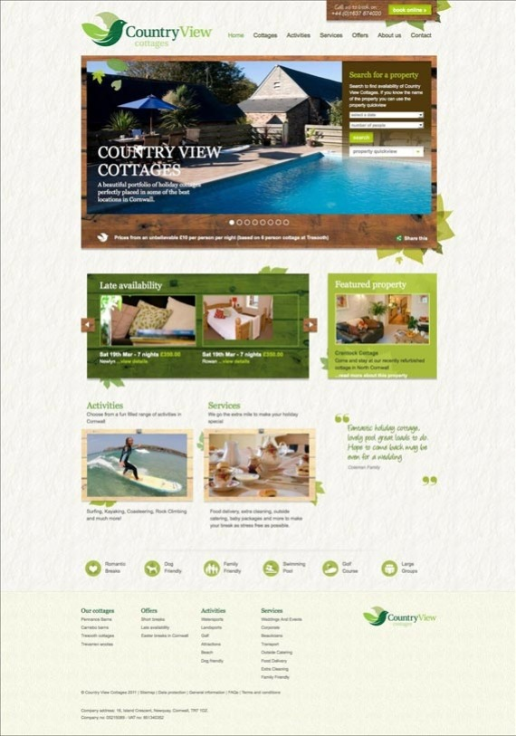 Country View Cottages website