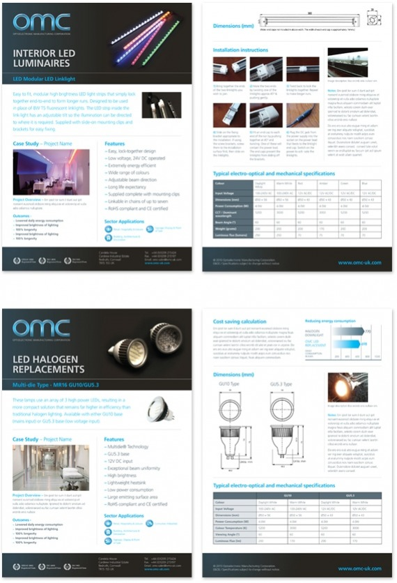 OMC Lighting Data Sheets